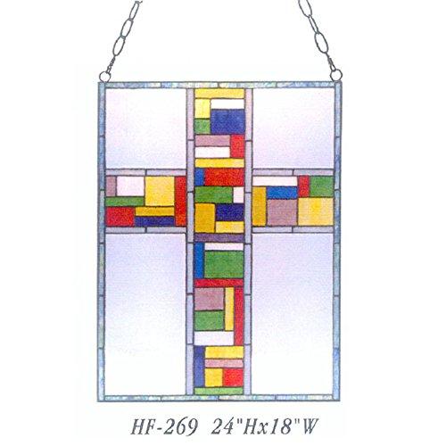 (HDO Glass Panels HF-269 Tiffany Style Stained Glass Cross Rectangle Window Hanging Glass Panel Sun Catcher, 24