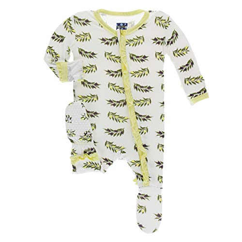 Kickee Pants Little Girls Print Layette Classic Ruffle Footie with Zipper - Natural Olive Branch, 0-3 Months