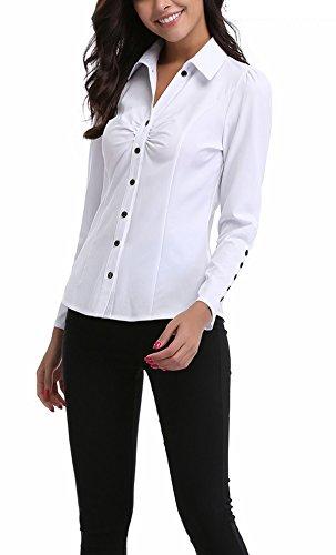 MOLY Dcor Classique Bouton Blanc Manches Chic Femme Chemisier Col V MISS Top Haut Longues F1qwdF
