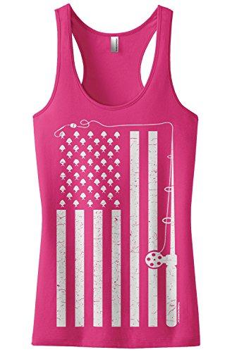 Threadrock Women's Fishing American Flag Racerback Tank Top S Hot Pink