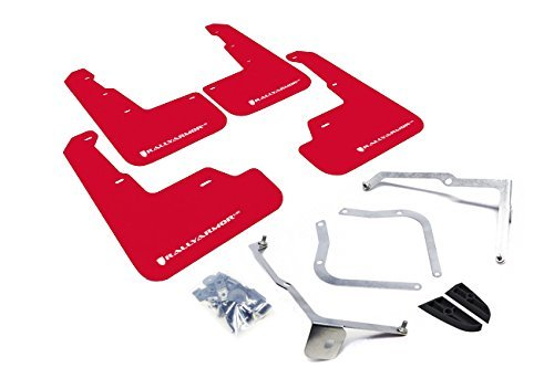 Rally Armor MF32-UR-RD/WH Red, White Mud Flap with Logo (15+ Subaru WRX & STi Sedan Only UR)]()