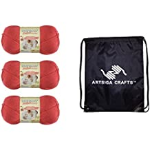 Bernat Softee Baby Yarn Solids (3-Pack) Soft Red 166030-30424 with 1 Artsiga Crafts Project Bag
