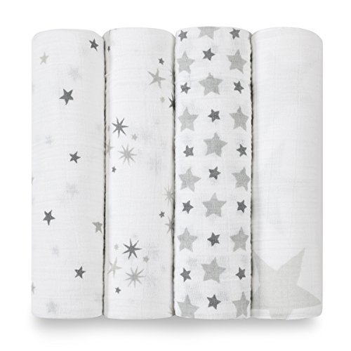 aden + anais Swaddle Baby Blanket; 100% Cotton Muslin; Large 47 X 47 inch; 4-pack; twinkle