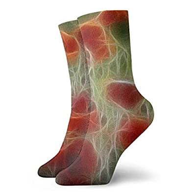 WEEDKEYCAT Red 3D Abstract Adult Short Socks Cotton Fun Socks for Mens Womens Yoga Hiking Cycling Running Soccer Sports