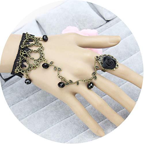1Pc Retro Gothic Women Bracelet Lace Flower Hand Slave Chain Temperament Gift,Black (Celtic Slave Bracelet)
