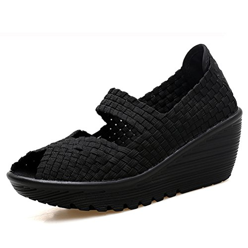HKR Women Closed Peep Toe Woven Platform Wedges Mary Jane Sandals Comfort Weave Shoes 559 Black-open Toe