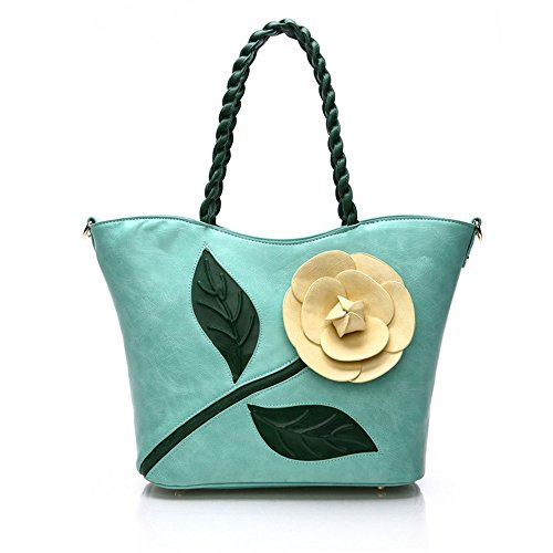 Gwqgz Three-dimensional Fabric Bag Ladies Fashion Large White Flowers Inclined Shoulder Bag Blue