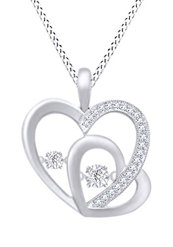 0.25 CT Round Cut White Natural Diamond Double Heart Pendant Necklace In 10k White (0.25 Ct Double Heart)