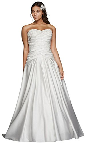Satin Beaded Lace Applique Plus Size Wedding Dress Style 9WG3789 – 18 Plus, White