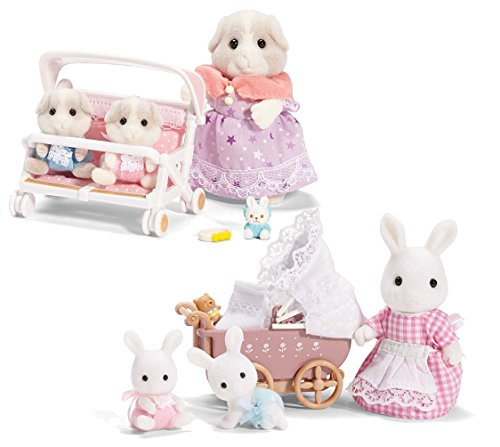 Calico Critters Patty and Paden's Double Stroller Set and A Carriage Ride Set