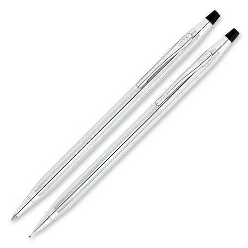Classic Century Ballpoint Pen & Pencil Set, Chrome/Black Accent by Cross