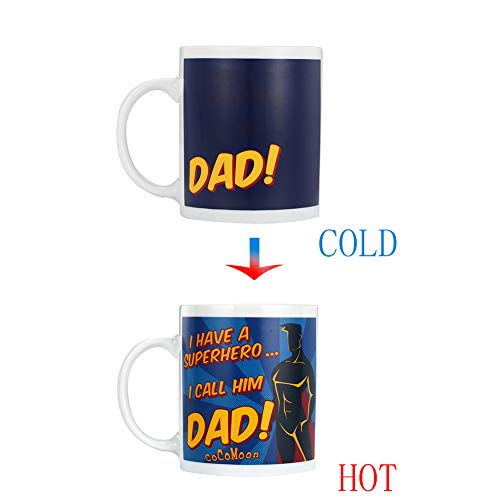 - New Dad Coffee Mug 11oz- Funny Ceramic Magic Heat Color Changing/Magic Coffee & Tea Cool Heat Changing Sensitive Cup 11 oz,Drinkware Ceramic Mugs Morning Birthday Christ (DAD)