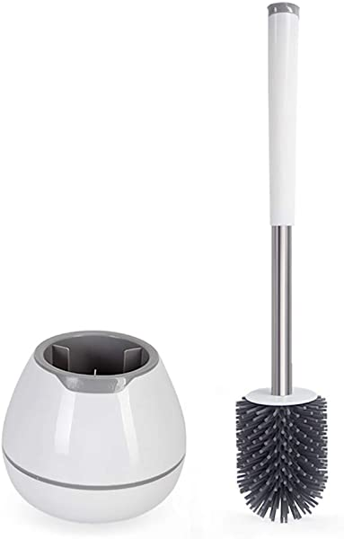BOOMJOY Toilet Brush and Holder Set, Silicone Bristles Bathroom Cleaning Bowl Brush Kit with Tweezers - White