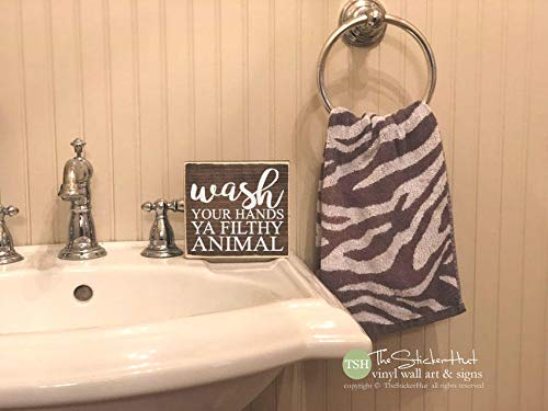 Wash Your Hands Ya Filthy Animal Mini Block Wood Sign Bathroom Decor Sign Wooden Signs Funny Sayings Quotes Small MiniBlock