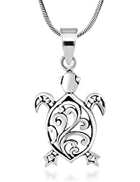 925 Sterling Silver Sea Turtle Filigree Animal Pendant Necklace, 18 inches - Nickel Free