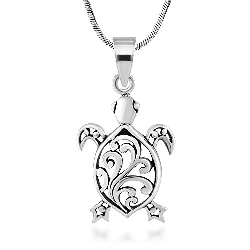 925 Sterling Silver Sea Turtle Filigree Animal Pendant Necklace, 18 inches - Nickel (Silver Turtle Necklace)