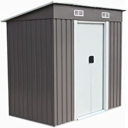4'×6' Outdoor Steel Metal Garden Storage Shed Tool House W/Sliding Door