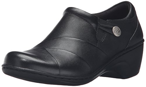Leather Loafer Heels (CLARKS Women's Channing Ann Slip-on Loafer, Black Leather, 10 W US)