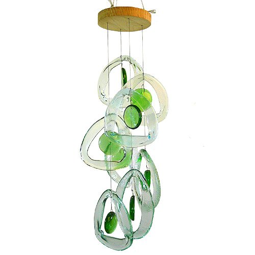 American Made Recycled Glass Bottle Wind Chime : Emerald Spring