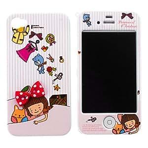 Sleeping Girl Pattern Hard Full Body Case for iPhone 4/4S