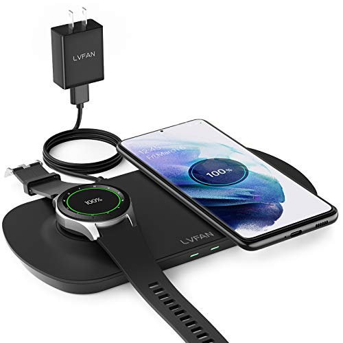 Wireless Charger Pad, LVFAN 2 in 1 Charging Station for Galaxy Watch3, Active1/2, Galaxy Buds+, Qi Fast Charging Stand Dock for Samsung S21/Note20, iPhone12/12Pro, with QC Adapter and Charging Cable