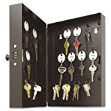 Hang 28 keys with or without key tags. - MMF INDUSTRIES Hook-Style Key Cabinet, 28-Key, Steel, Black, 7-3/4''w x 3-1/4''d x 11-1/2''h