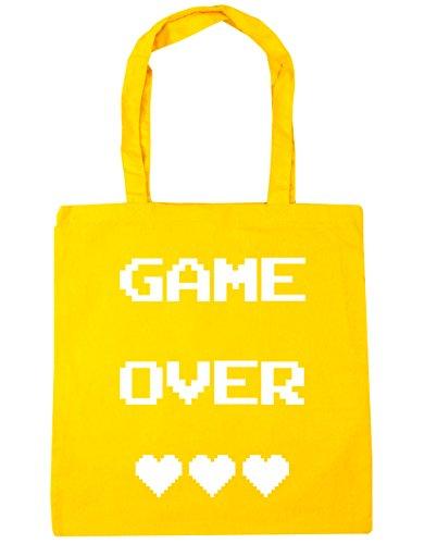 HippoWarehouse Game Over Einkaufstasche Fitnessstudio Strandtasche 42cm x38cm, 10 liter - Gelb, One size