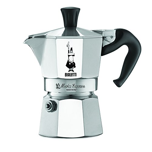 The Original Bialetti Moka Express Made in Italy 1-Cup Stovetop Espresso Maker with Patented Valve (1 Stoves)