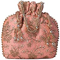 Your Pretty Closet Ethnic Rajasthani Potli Bag For Women, Bridal, Casual, Party, Wedding (Pink) …