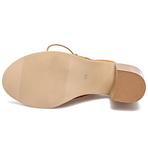 COOLCEPT Mujer Moda Cordones Sandalias Hueco Slingback Vintage Tacon Ancho Gladiator Zapatos Amarillo