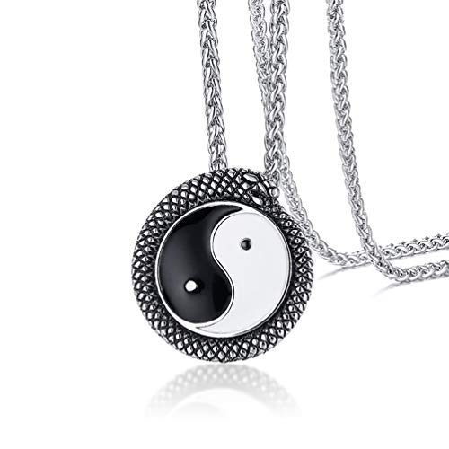 Coiled Snake Pendant - EZSONA Yin Yang Bagua Necklace Taoism Religions Jewelry Silver Stainless Steel Coiled Snake Pendant