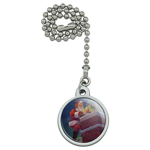 (GRAPHICS & MORE Christmas Holiday Santa Going Down The Chimney Ceiling Fan and Light Pull Chain)