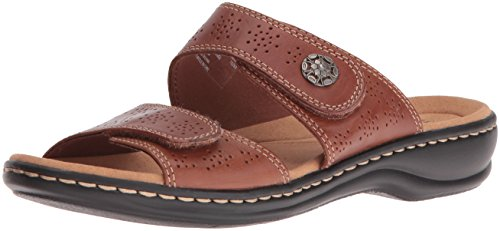 CLARKS Women's Leisa Lacole Slide Sandal, Tan Leather, 8.5 N US
