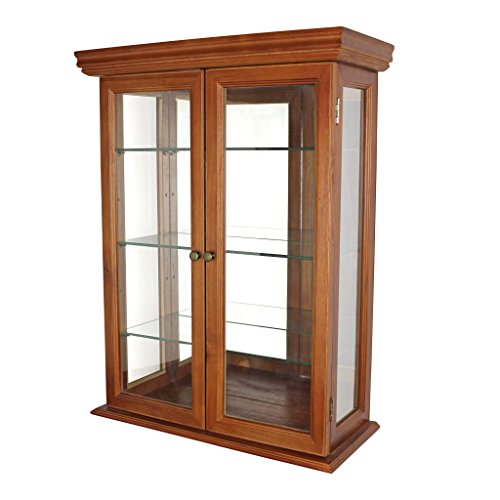 Design Toscano Country Tuscan Glass Wall Mounted Storage Curio Cabinet, 26 Inch, Hardwood, Walnut Finish (Mirrored Traditional Cabinet)