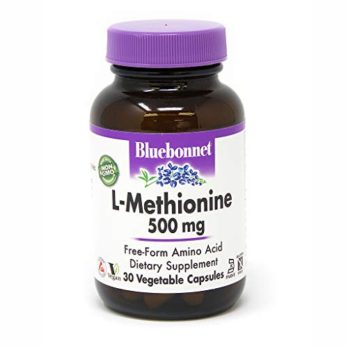 Bluebonnet L-Methionine 500 mg Vitamin Capsules, 30 Count