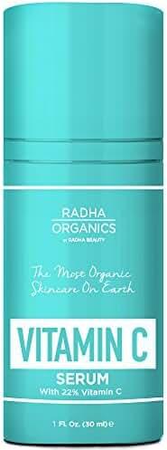 Radha Organics Vitamin C Serum for Face - With 22% Vitamin C, Organic Argan Oil & Vitamin E - The Only 100% natural vitamin c serum for face and eyes