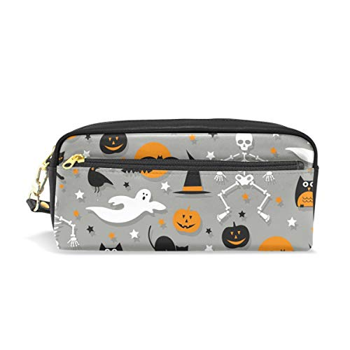AMONKA ハロウィーン (6) Pencil Case Pen Holder Cosmetic Makeup Bag Women Durable Stationery Pouch Bag Large Capacity for School Kid Boys Children Teens Office Supplies Adult PU Leather -