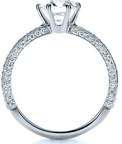 Gowe brillant 1CT Diamant rond Bijoux en or massif 9K Or blanc diamant de fiançailles bague de mariage Ascd imitation diamant Bague