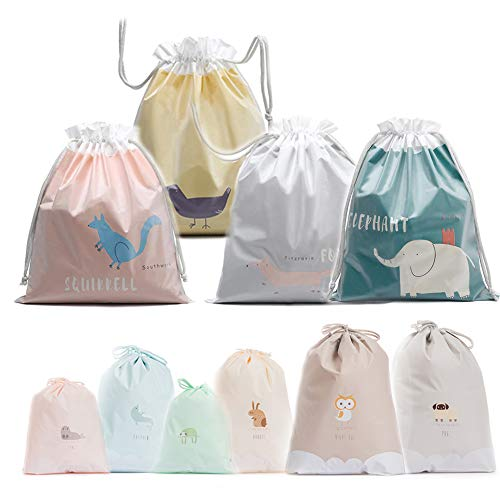 - Travel Drawstring Bag Waterproof Durable Plastic Folding Travel Bag Home Storage Bag(10 Pack)