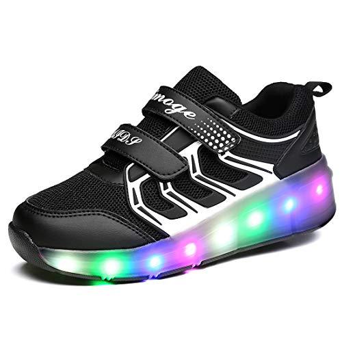 FOUPLER Boy Girl's LED Light Up Roller Skate Shoes Single Wheel Fashion Sneakers (Little Kid/Big Kid) Black05 1 M/EU 32 ()