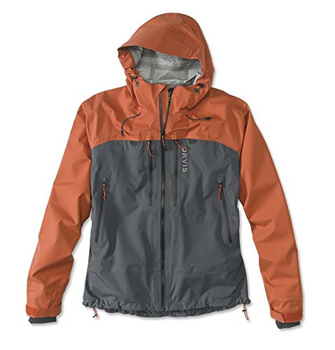 Orvis Men's Ultralight Wading Jacket, Orange/Ash, Large