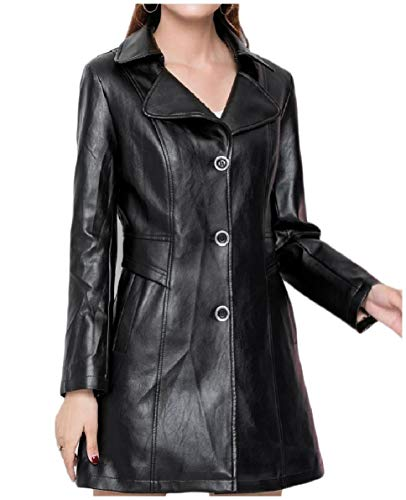 apel Plus-Size Mid-Long Trench Coat PU Leather Jackets Black 2XL ()