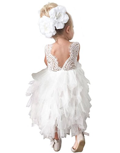 - Topmaker Backless A-line Lace Back Flower Girl Dress (6Y, Long-White)
