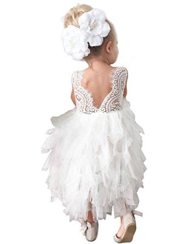 Topmaker Backless A-line Lace Back Flower Girl Dress (4T, Long-White)