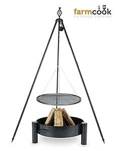 Trípode Barbacoa Oskar Altura 210cm + Parrilla de rohstahl Diámetro 60cm + Brasero PAN33Diámetro 70cm