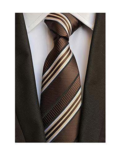 Men's Coffee Brown White Tie Silk Luxury Unique Designer Cool Self Dress Necktie (Striped Brown Necktie)