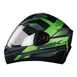 Steelbird R2K Full Face Helmet with Plain Visor (Large 60CM, Matt Black/Green}