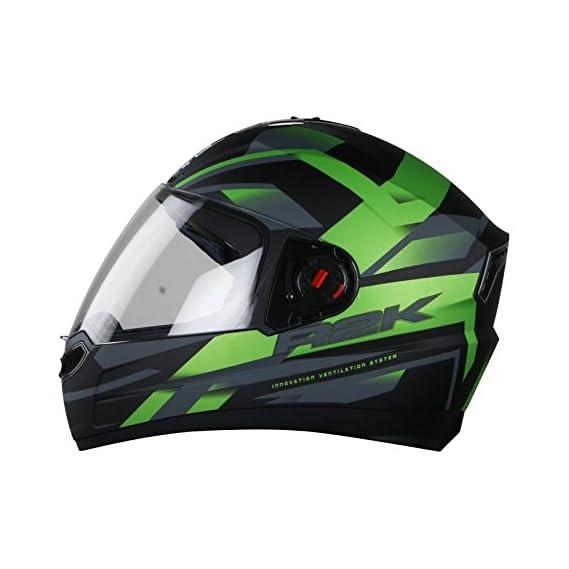 Steelbird SBA-1 R2K Full Face Graphics Helmet in Matt Finish with Plain Visor, (Large 600 MM, Matt Black Green)