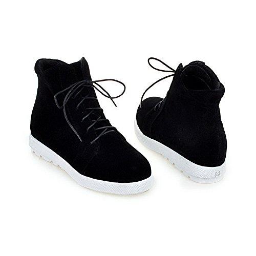 Platform Low Ladies Leather Imitated Boots Black Business AdeeSu Heels wtqdAt5