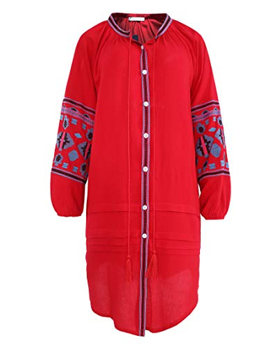 R.Vivimos Womens Autumn Long Sleeve Embroidery Oversized Single Breasted Button Up Dresses with Pockets (Large,Red)